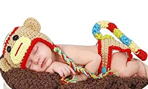 born Baby Girl Boy Crochet Sock Monkey Hat Cape Beanie Diaper Cover Outfit Set Costume Photo Prop