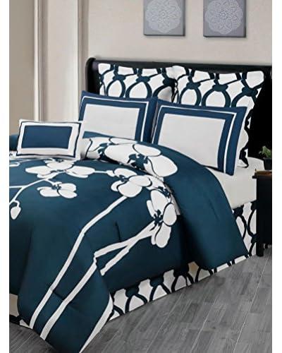 Duck River Textiles April Orchidea 7-Piece Reversible Oversize/Overfilled Comforter Set