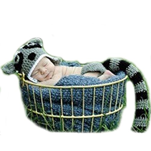 Baby Newborn Boy Girl Little Raccoon Crochet Cotton Knit Costume Photo 0-3 Months