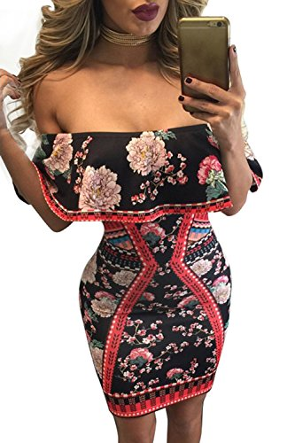 Pretid Women Sexy Off Shoulder Floral Print Bodycon Stretchy Club Party Dress