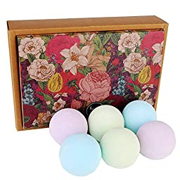 GQ Bath Bomb Gift Set - Handmade - 6 Ultra Lush Spa Bombs with Organic&All Natural Essential Oil - Relax Body - Relieve Stress - Best Gift for Yourself - Best Gift for Others