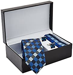 Tossido Men's Synthetic Tie Set (RSTS32_Blue)