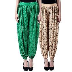 NumBrave Printed Viscose Green & Beige Harem Pants (Pack of 2)
