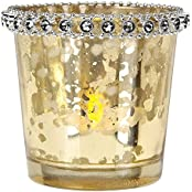 Luna Bazaar Vintage Mercury Glass Candle Holder With Rhinestones (2.5 Inch, Gold) For Use With Tea Lights For...