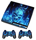 GamesDur Skin for Sony PS3 Slim Console System Plus Two(2) Decals For: Playstation 3 Dualshock Controller - Skull of Blue Fire