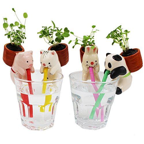 EMIDO (4Pieces/Set)Cute Style Ceramic Mini Backpack Plant Pot Self Watering Animal Planter Straw Cup Self-watering Planters(Pig+Cat+Rabbit+Panda)