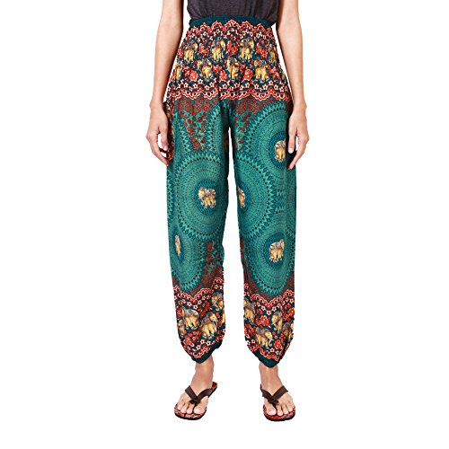 [Rita & Risa Women's Elephants with Circle Boho Design Printed Hippie Harem Pants] (Viking Outfits For Adults)