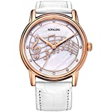 SONGDU Women Mother Pearl Dress Watches Music Note Diamond Rose Gold Bezel Sapphire White Leather Strap