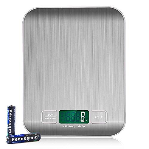 KoiKo - Digitale Küchenwaage || Elektronische Waage || Gewichtsmessung Fürs Kochen und Backen|| Bis 5 kg || Auf 1 g Exakt || Edelstahl || Grosses LCD-Display || Zuwiegefunktion (Tara-Funktion) || Inklusive 2 x AAA Batterien