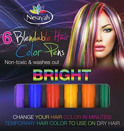 Nevayah Hair Chalk Temporary Hair Multicolor Dye Pens,  Light Purple / Medium Blue / Red / Yellow / Orange / Dark Green (6 Pens) (Purple Red Hair Dye compare prices)