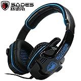 New Sades SA-708 Stereo Headset Headband PC Notebook Pro Gaming Headset (Blue)