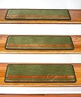Dean Premium New Zealand Wool Non-Slip Carpet Stair Treads/Runner Rugs - Deco Bloc Green and Terra Cotta 27