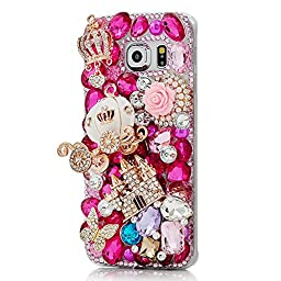 Samsung Galaxy S6 Active Bling Case - Fairy Art Luxury 3D Sparkle Series Castle Pumpkin Car Crown Butterfly Flowers Crystal Design Back Cover with Soft Wallet Purse Red Cloth Pouch - Red