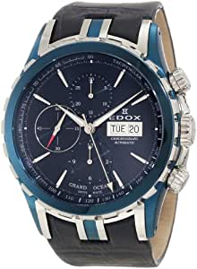 Edox Men's 01113 357B BUIN Grand Ocean Automatic Chronograph Blue PVD Genuine Leather Watch