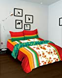 Tomatillo Nature Pure Cotton Double Comforter - Floral, Maroon and White