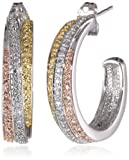18k Yellow and Rose Gold-Plated Brass and Diamond Accent J-Hoop Earrings
