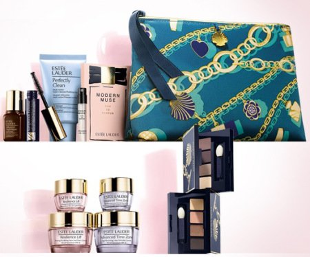 NEW-Estee-Lauder-2014-Fall-7-Pcs-Skincare-Makeup-Gift-Set-100-Value-with-Cosmetic-Bag