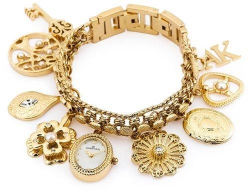 AK Anne Klein Women's  10-8096CHRM Swarovski® Crystal Accented Gold-Tone Charm Bracelet Watch