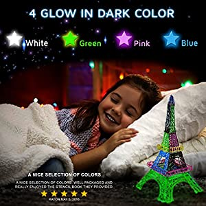 3D Pen Filament Refills - 1.75mm ABS 280 Linear Feet (20 foot each) Total 14 Different colors fun pack. 4 Glow In The Dark Colors & 175 FREE Stencils eBook Included. by JoyCrafty