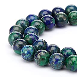 BRCbeads Chrysocolla Natural Gemstone Loose Beads Round 8mm Crystal Energy Stone Healing Power for Jewelry Making- Green