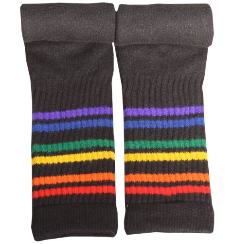 Black Rainbow Striped Tube Socks- Under the Knee 19 inches multicoloured