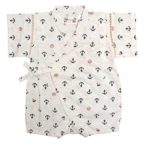 甚平 ロンパース ベビー 男の子 綿100% 日本製生地 マリン 和柄 じんべい ロンパース 甚平 ホワイト 80cm