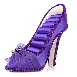 pr sentoir support pour bague anneau forme de chaussure talon haut violet bijoux. Black Bedroom Furniture Sets. Home Design Ideas