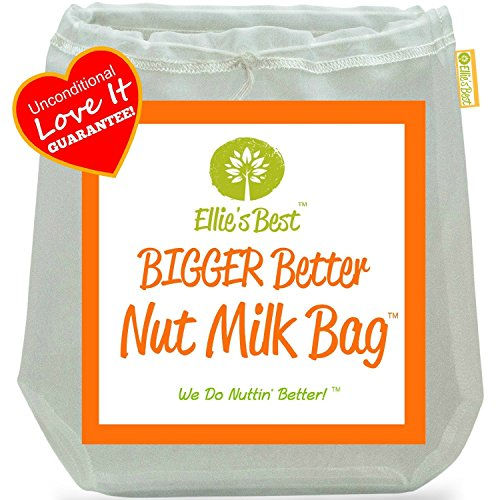 """Pro Quality Nut Milk Bag - Big 12""""X12"""" Commercial Grade - Reusable Almond Milk Bag & All Purpose Strainer - Fine Mesh Nylon Cheesecloth & Cold Brew Coffee Filter - Free Recipes & Videos (3 Pak)"""