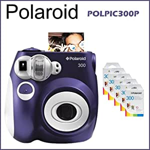 Polaroid 300 Instant Camera Purple + 5 Packs Polaroid Instant Film 300