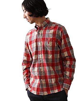 (コーエン) COEN ウインターリネンミックスチェックボタンダウンシャツ 75106366061 35 Red M