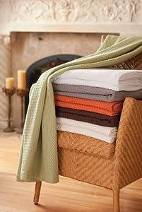 Modern Design Waffle Weave Throw Blanket - Orange