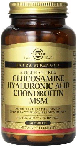 Solgar Glucosamine, chondroïtine MSM acide hyaluronique (mollusques frais), 120 comprimés