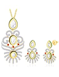 "Peora 18 Karat Gold Plated Kundan ""Mitika"" Pendant Earrings Set With Free Chain PS153GJ"
