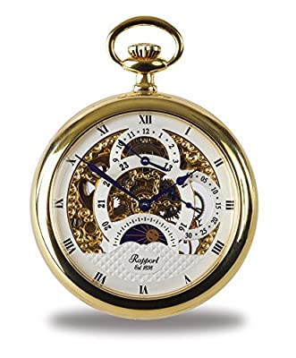 Rapport Pocket Watch PW42 Gold Plated Moon Phase Open Face