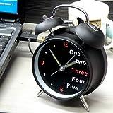 "HITO™ 4"" Silent Quartz Analog Twin Bell Alarm Clock with Nightlight and Loud Alarm"