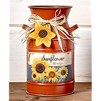 Vintage Country Sunflowers Milk Can. Use as Vase