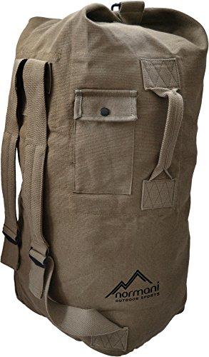 Normani - Zaino a sacchetto in tela di cotone, con chiusura metallica, 90 l, colore: Nero o Verde oliva