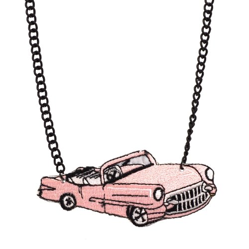 Retro 1950s Embroidered Automobile Car Necklace