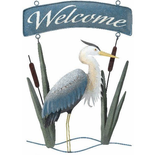 Welcome Sign Handcrafted Decor Coastal Heron (12x16) - Regal Art #R326