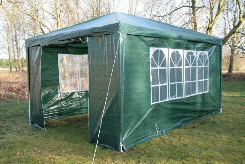 Airwave 3m x 4m Gazebo Party Tent Marquee Awning GREEN with Side Panels. 120g WATERPROOF Canopy and Powder Coated Steel Frame.