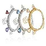 The London Bracelet, Cluster Of Round Links with Swarovski Crystal Charms and cut out Filigree Flowers, 14K gold and Rhodium plated Options, Topaz, Sapphire and Amethyst Swarovski Crystal Charms. Light but Solid Links cluster Bracelet of Finest Quality f