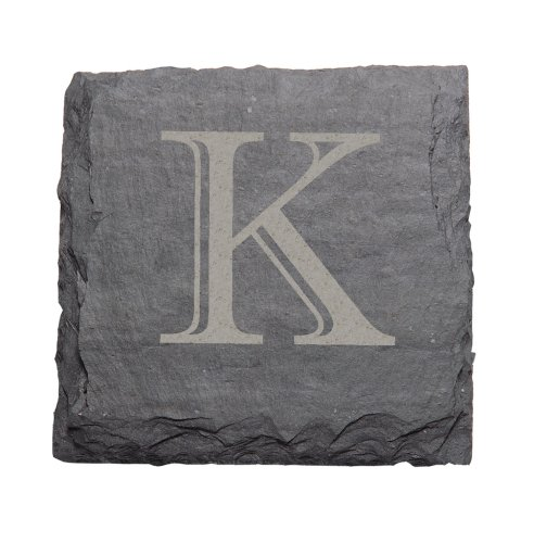 "J.K. Adams 4-Inch Square Monogrammed Initial Slate Coasters, Set of 4, ""K"""