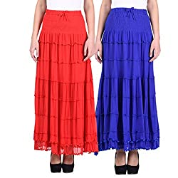 NumBrave Red & Blue Long Flared skirt Combo