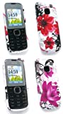 Emartbuy Nokia C1-01 Bundle Pack of 2 Gel Skin Cover / Case - Oriental Flowers & Purple Bloom