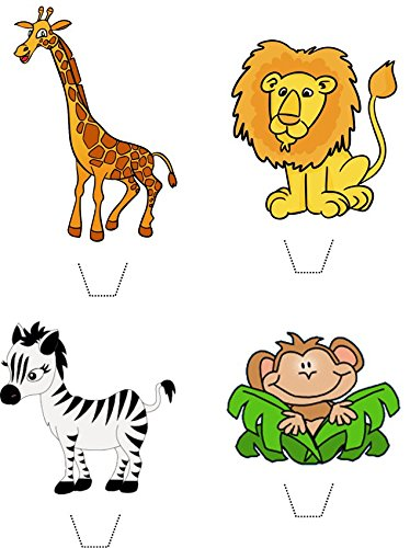 Novelty Safari Animals Mix (Lion, Zebra, Monkey, Giraffe) 12 Edible Stand up wafer paper cake toppers (5 - 10 BUSINESS DAYS DELIVERY FROM UK) (Zebra Cake Mix compare prices)