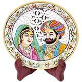 Crafticia Craft Rajasthani Handicraft Marble Decorative Plate Decorative Platter Stoneware Showpiece With Wooden...