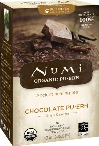 Numi Organic Chocolate Pu-erh Tea, Full Leaf Black Pu-erh Tea, 16 Count Tea Bags (Numi Chocolate Puerh compare prices)
