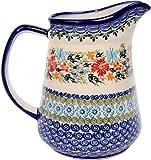 Polish Pottery Ceramika Boleslawiec,  0208/238, Pitcher Jacek 4, 5 1/2 Cups, Royal Blue Patterns wit