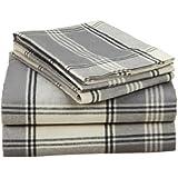 Pinzon Lightweight Cotton Flannel Sheet Set - Queen, Grey Plaid