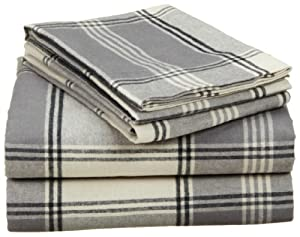 Pinzon Lightweight Cotton Flannel Sheet Set - Queen, Grey Plaid